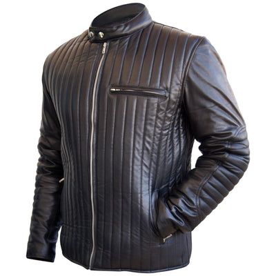 Men Rib Quilted Black Genuine Real Leather Jacket