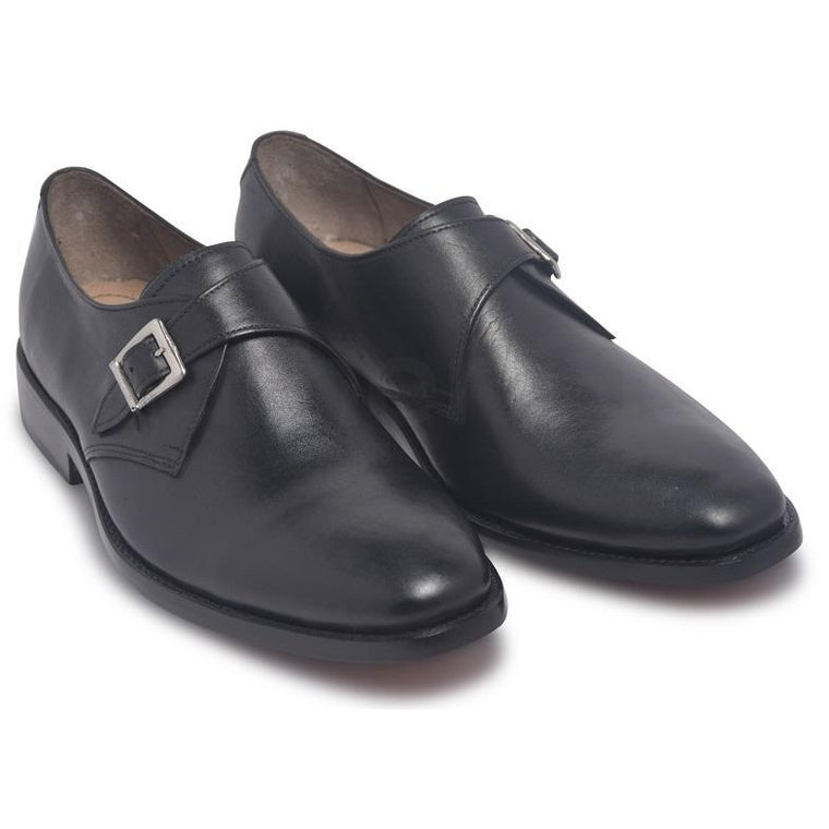 Men Black Single Monk Strap Genuine Leather Shoes