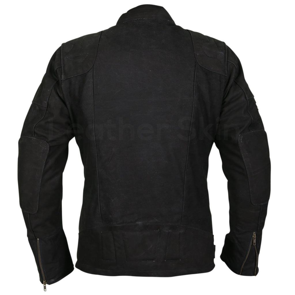 Men Black Suede Belted Leather Jacket with Zippers on Shoulders