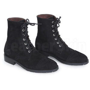 Men Black Suede Lace up Ankle Genuine Leather Boots