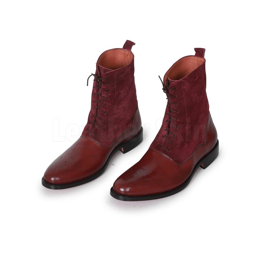 Men Red Burgundy Brogue Genuine & Suede Lace Up Leather Boots