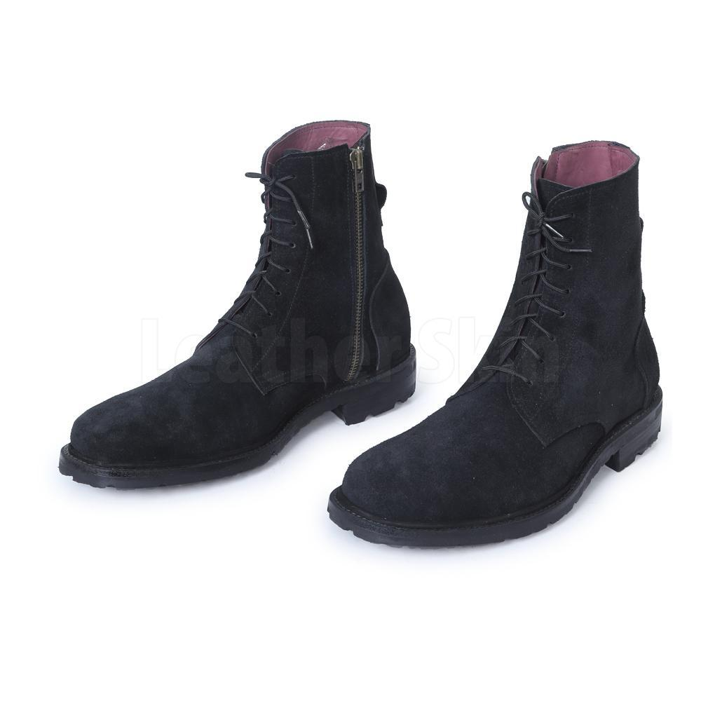 Men Black Suede Lace Up Ankle Military Leather Boots