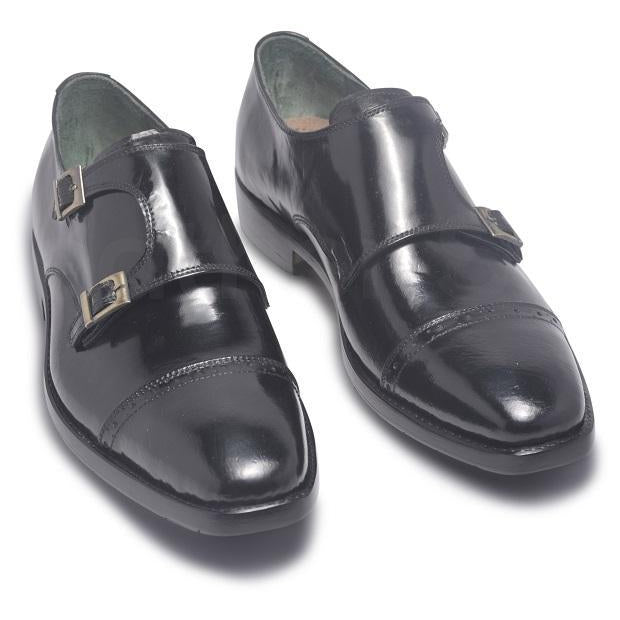 monk black leather shoes