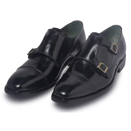 black monk leather shoes for men