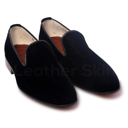 Men Black Velvet Loafer Slippers with Leather Sole Shoes