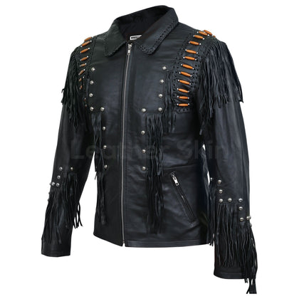 punk studded leather jacket mens