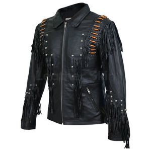 Men Black Western Fringes with Roundhead studs and brown beads