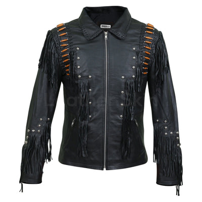 mens leather jacket with fringes