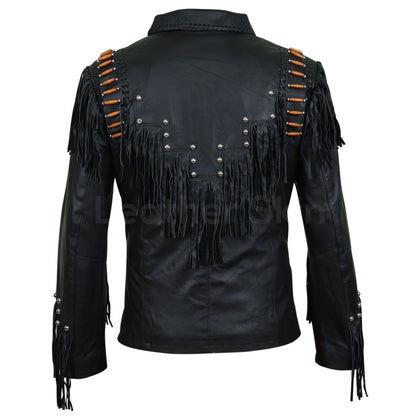 leather jacket with beads mens