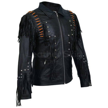 mens fringed leather jacket spikes