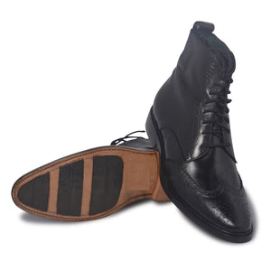 Men Black Wingtip Brogue Derby Leather Boots