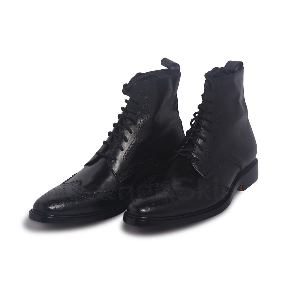 mens black leather boots with wingtip