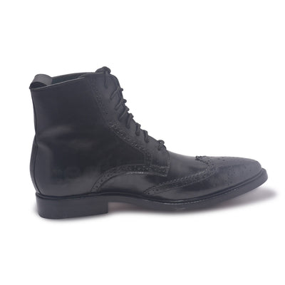 mens genuine leather boots in black