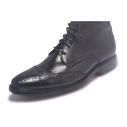 wingtip brogue leather boots for men