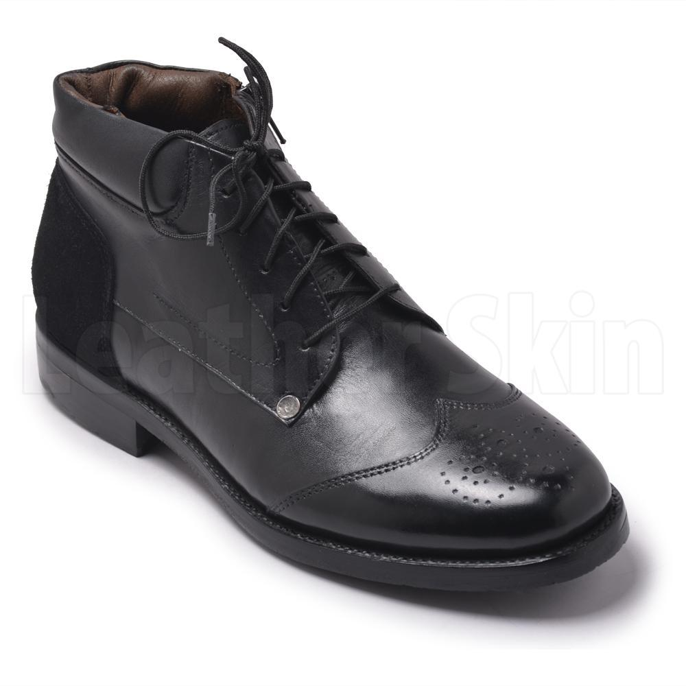Men Black Zipper Genuine Leather Boots