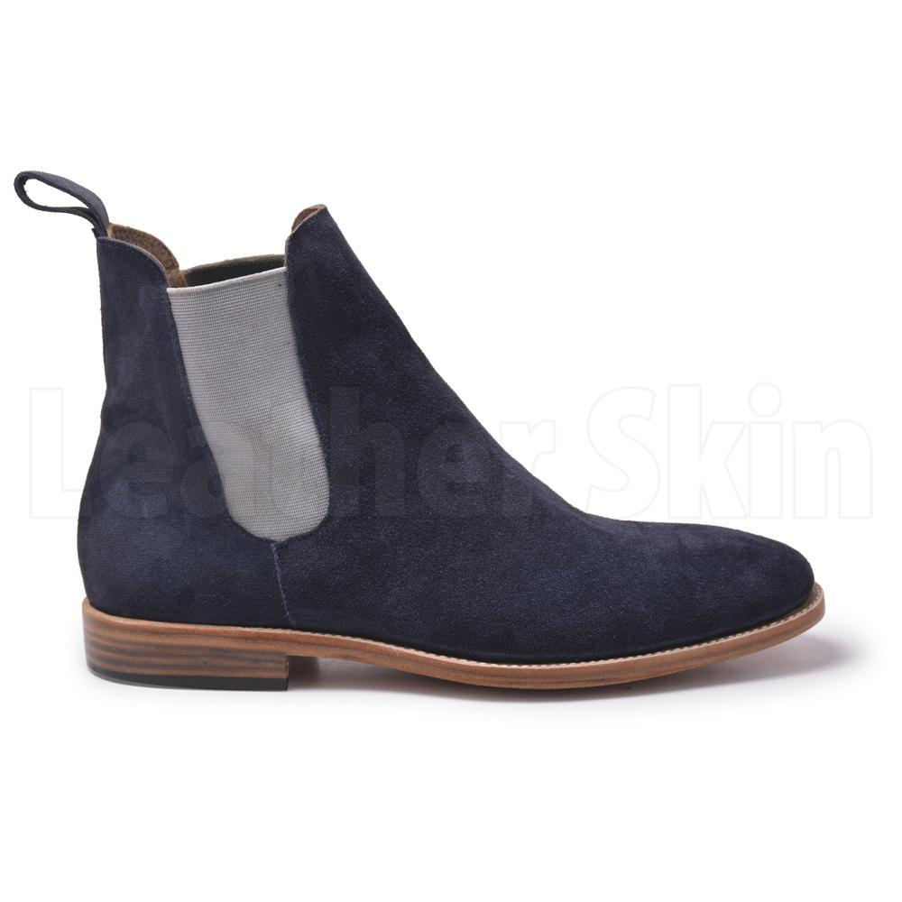 Men Blue Chelsea Suede Leather Boots with White Stretch
