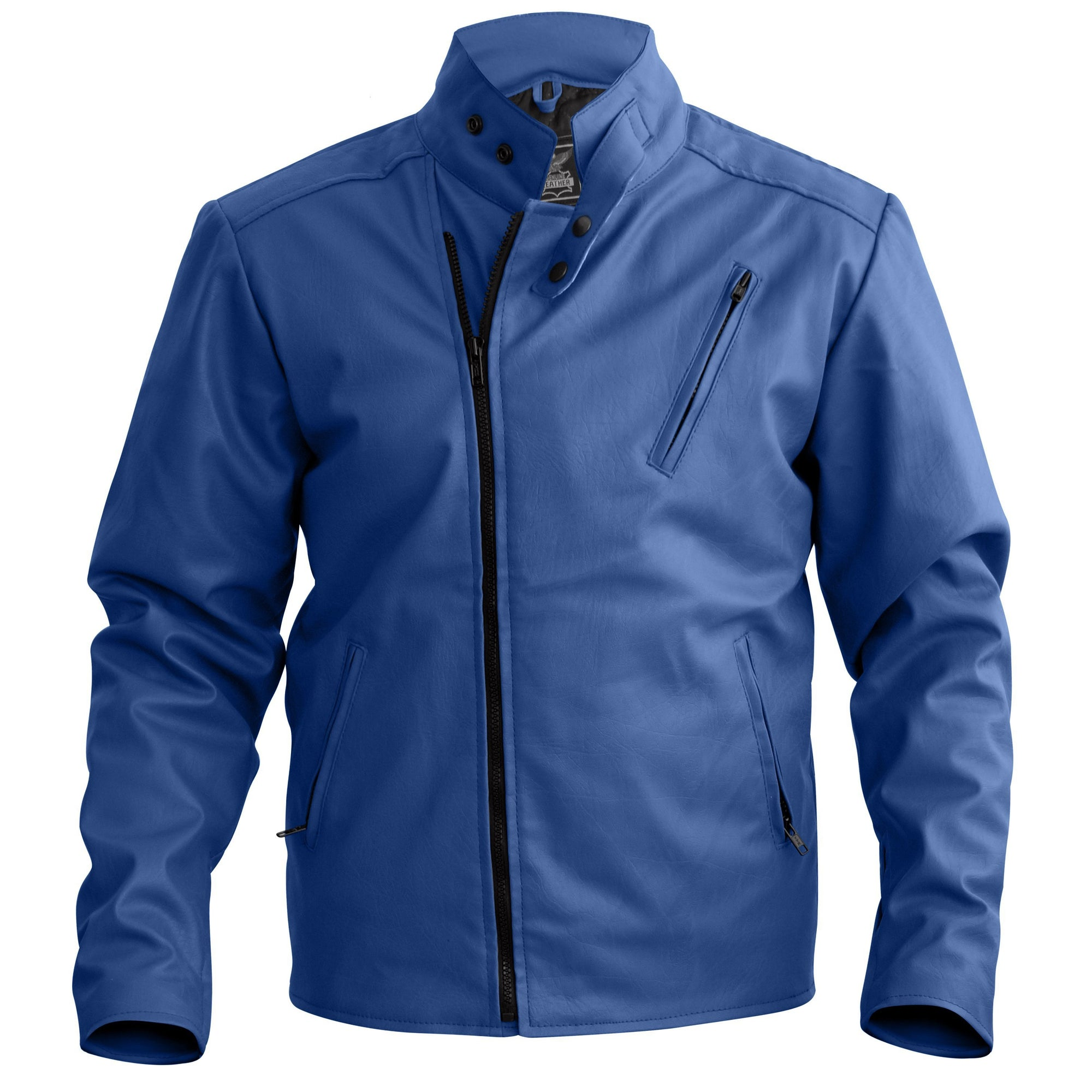 Men Blue Faux Leather Jacket