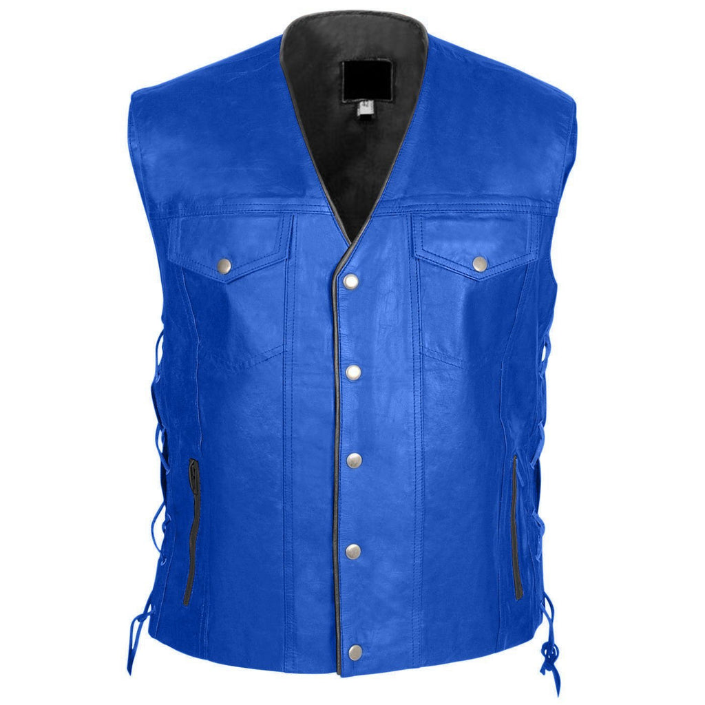 Men Blue Genuine Real Leather Vest with Black Lining