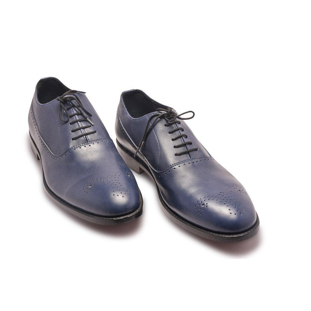 Men Oxford Blue Leather Shoes