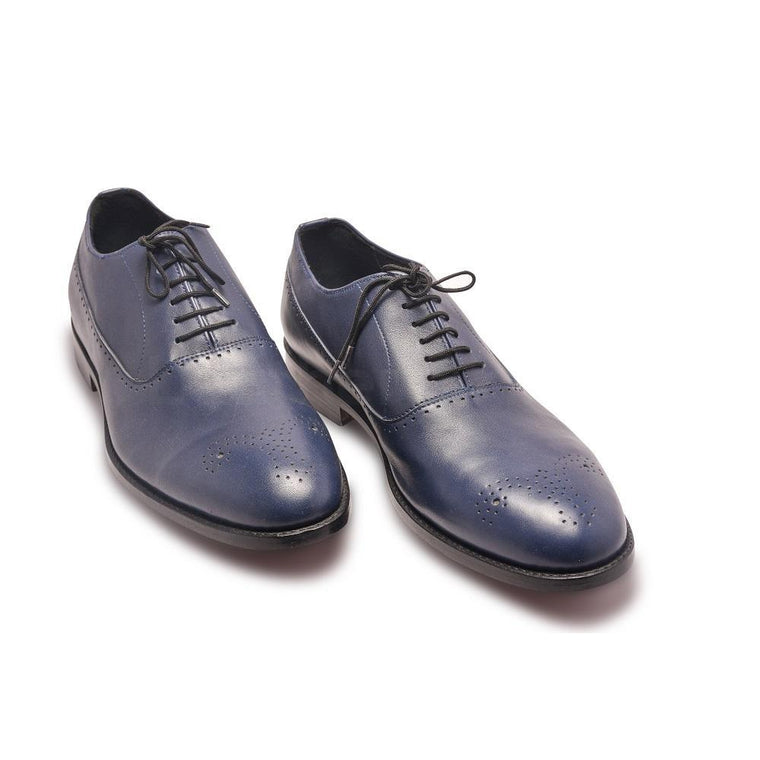 Men Blue Oxford Brogue Genuine Leather Shoes with Black Laces