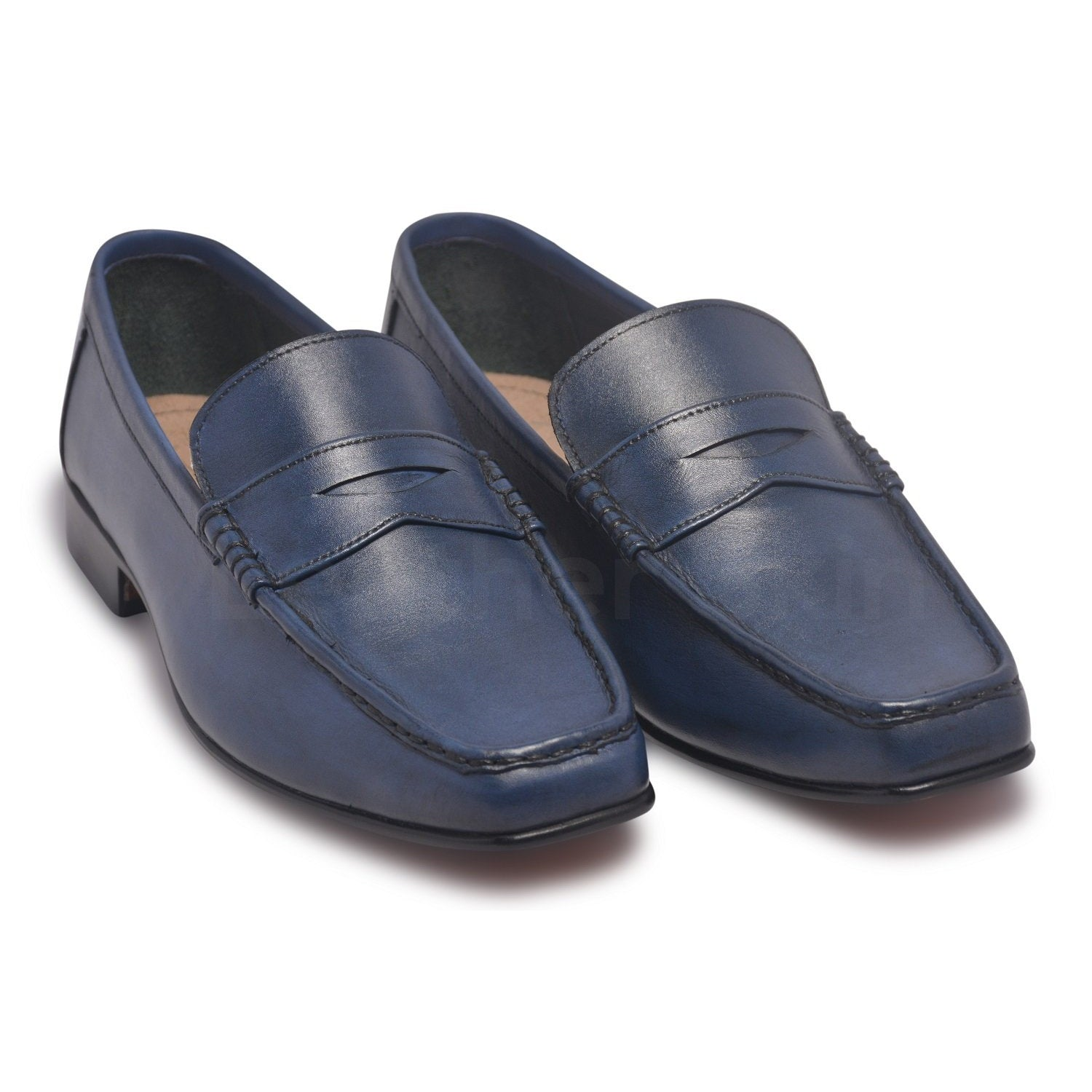 Men Blue Penny Loafer Slip-On Genuine Leather Shoes