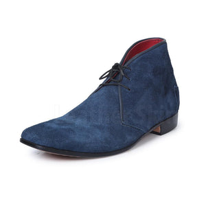 Men Blue Suede Chukka Leather Shoes with Laces blue