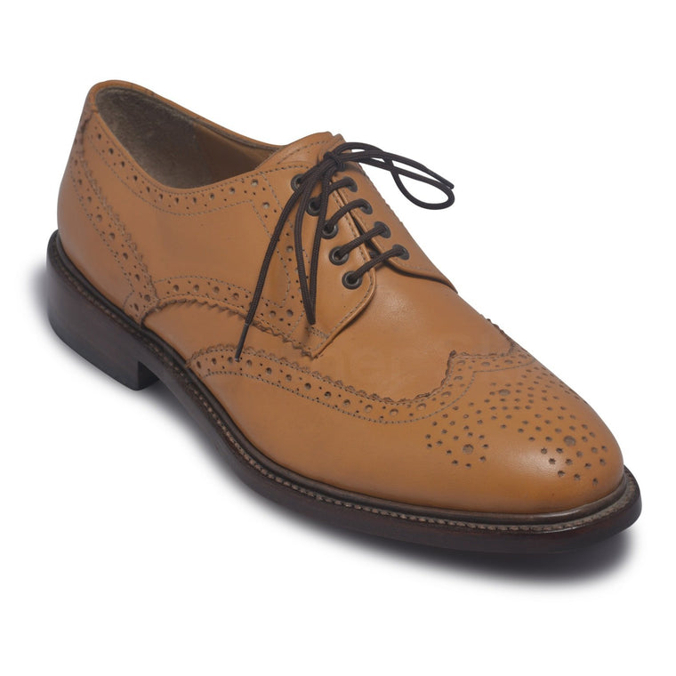 Men Bold Tan Derby Wingtip Brogue Genuine Leather Shoes