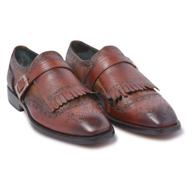 Men Brown Belted Strap Fringes Wingtip Brogue Genuine Leather Shoes