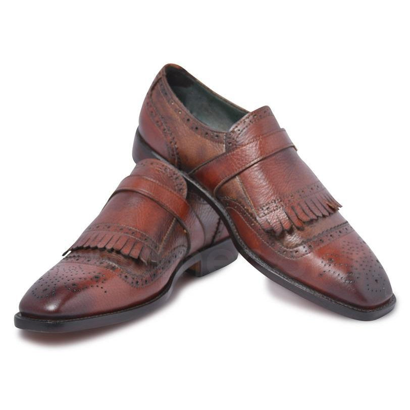 brown shoe with fringes for men