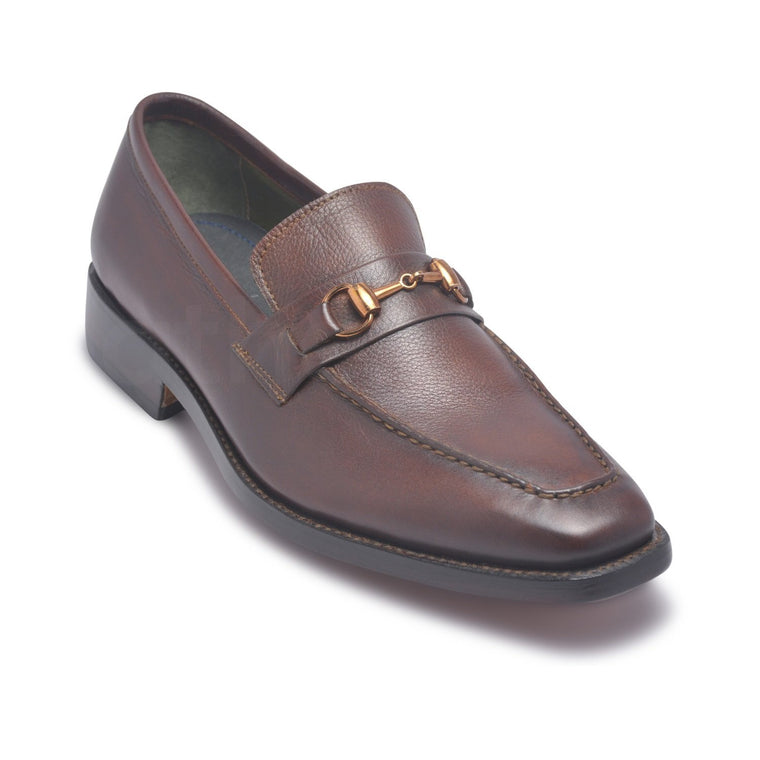 Men Brown Bit Loafer Genuine Leather Shoes with Golden Decoration
