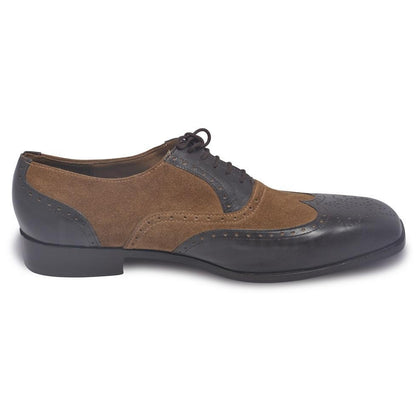 Black Leather Shoes with brown suede