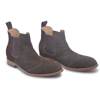 brown chelsea boots suede leather