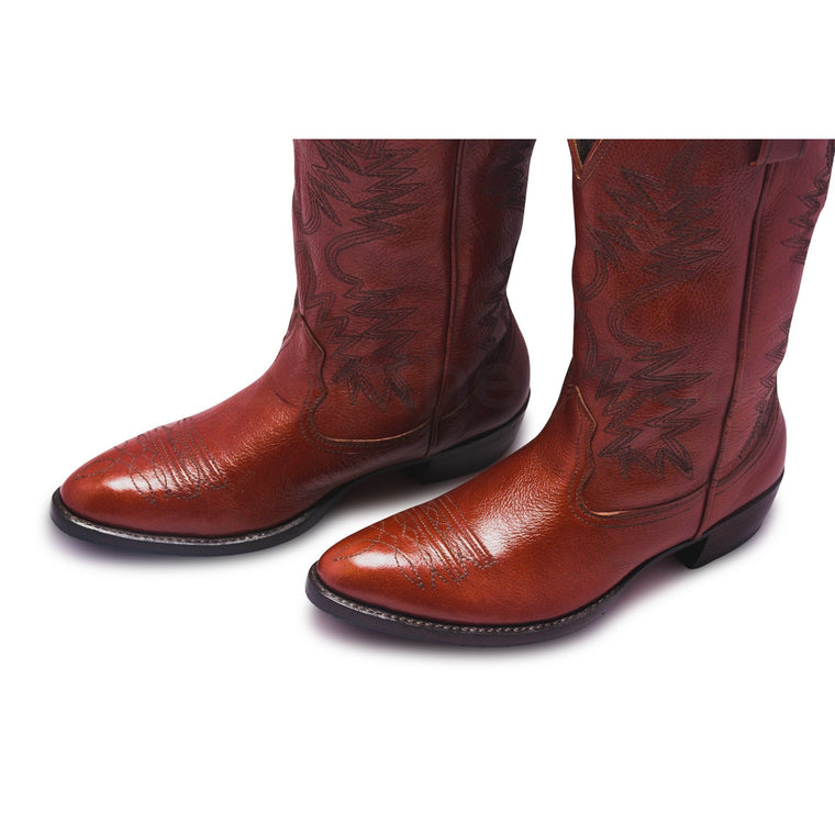 Men Brown Cowboy Knee High Leather Boots
