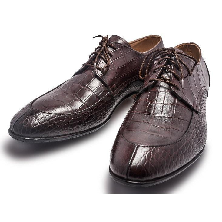 Men Brown Crocodile Shoes with Derby Style and Algonquin Toe