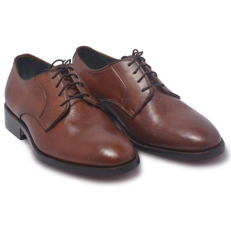 Men Brown Derby Genuine Leather Shoes with Laces