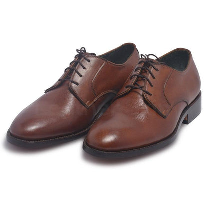 brown derby leather shoes for men