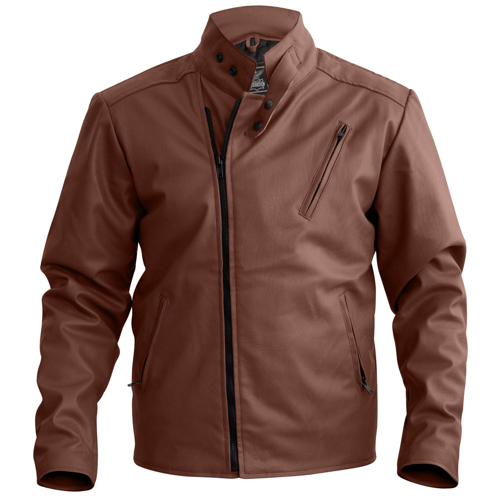 Men Brown Faux Leather Jacket