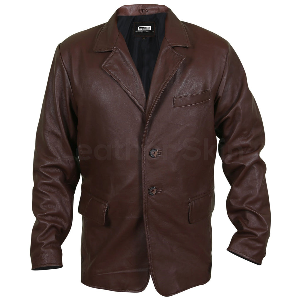 brown leather coat mens