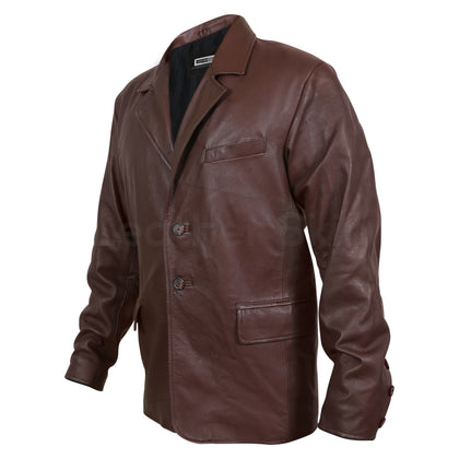 brown genuine leather coat for men