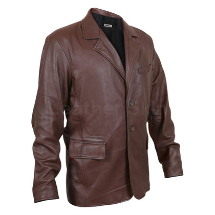 mens brown leather coat with buttons