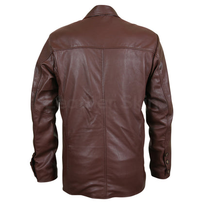 Men Brown Genuine Leather Coat with Plain Lining