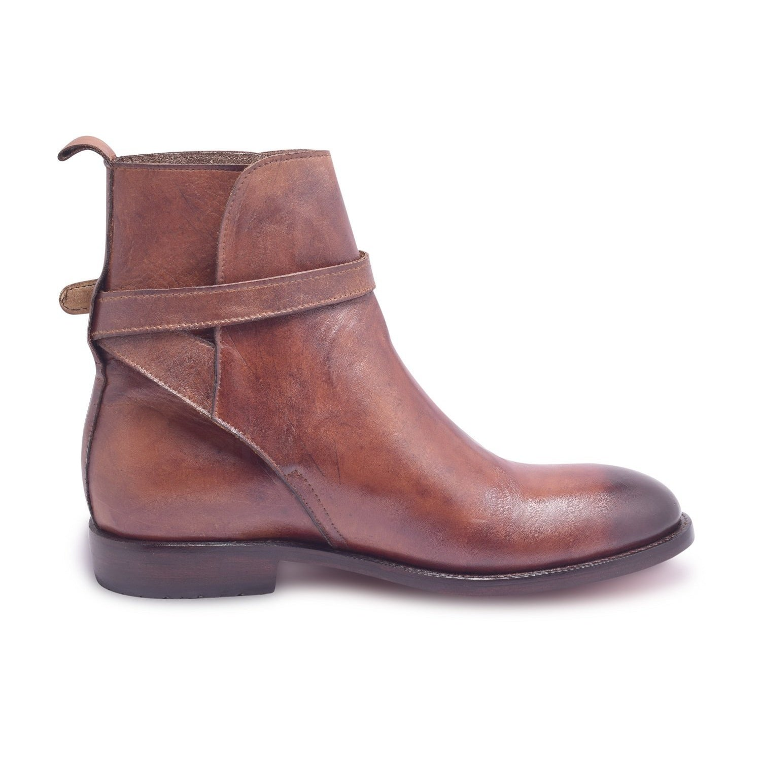 Men Brown Jodhpurs Ankle Leather Boots