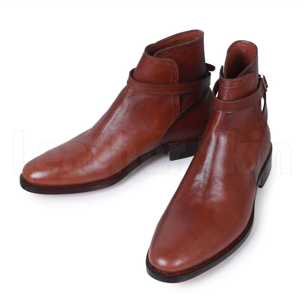 Men Brown Jodhpurs Genuine Leather Boots