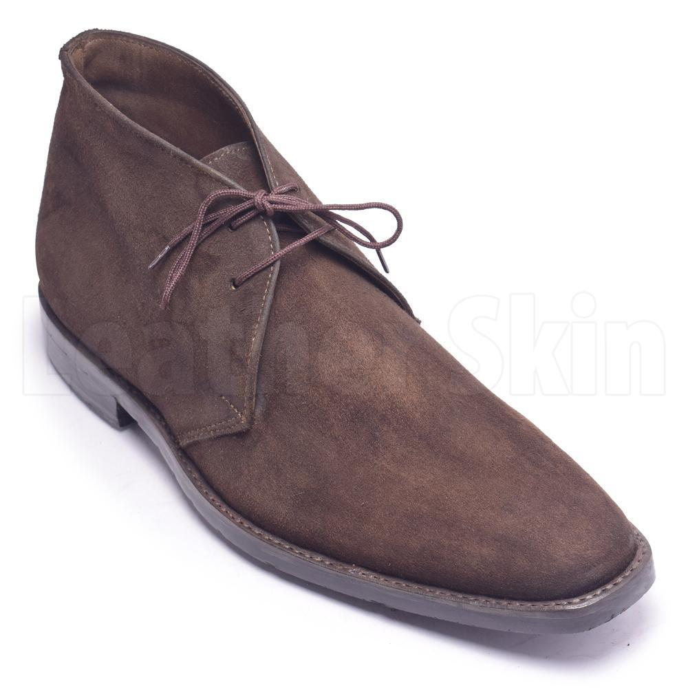 Men Brown Monk Strap Chukka Suede Leather Boots