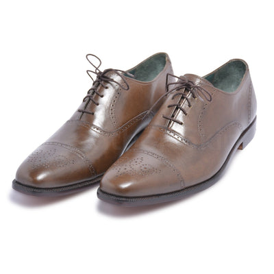 capped toe leather shoes oxford style