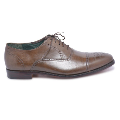 capped toe brown leather shoes mens