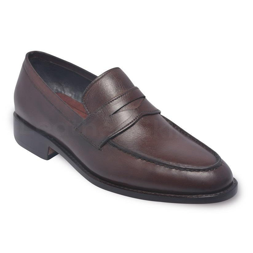 Men Brown Penny Loafer Slip-On Genuine Leather Shoes