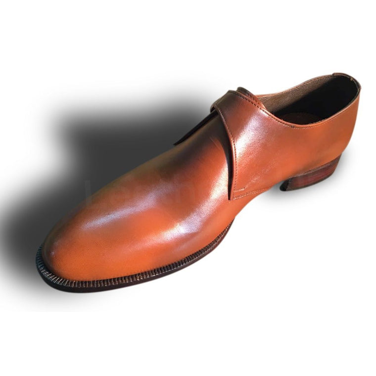 Men Brown Single Monk Genuine Leather Shoes