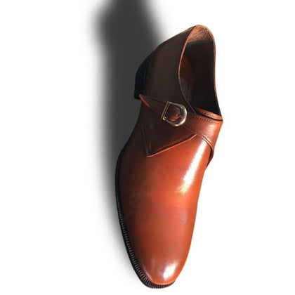 brown monk leather shoes for men
