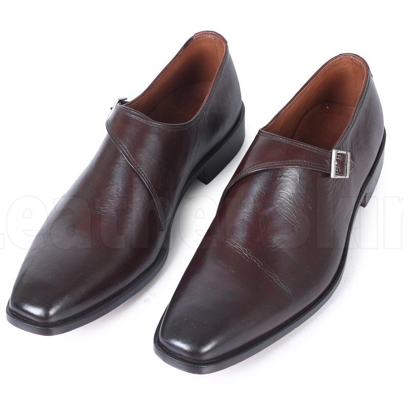 Men Brown Single Monk Handmade Genuine Leather Shoes
